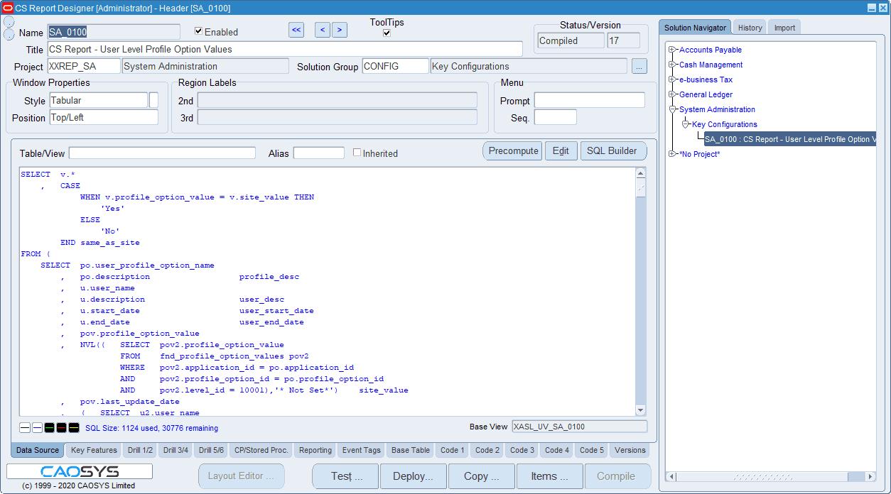 CS Report Designer - Define Solution