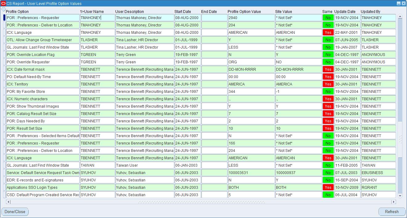 CS Report - Interactive Screen based Tabular Style Report